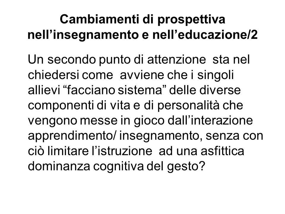 Cambiamenti di prospettiva nell'insegnamento e nell'educazione/2