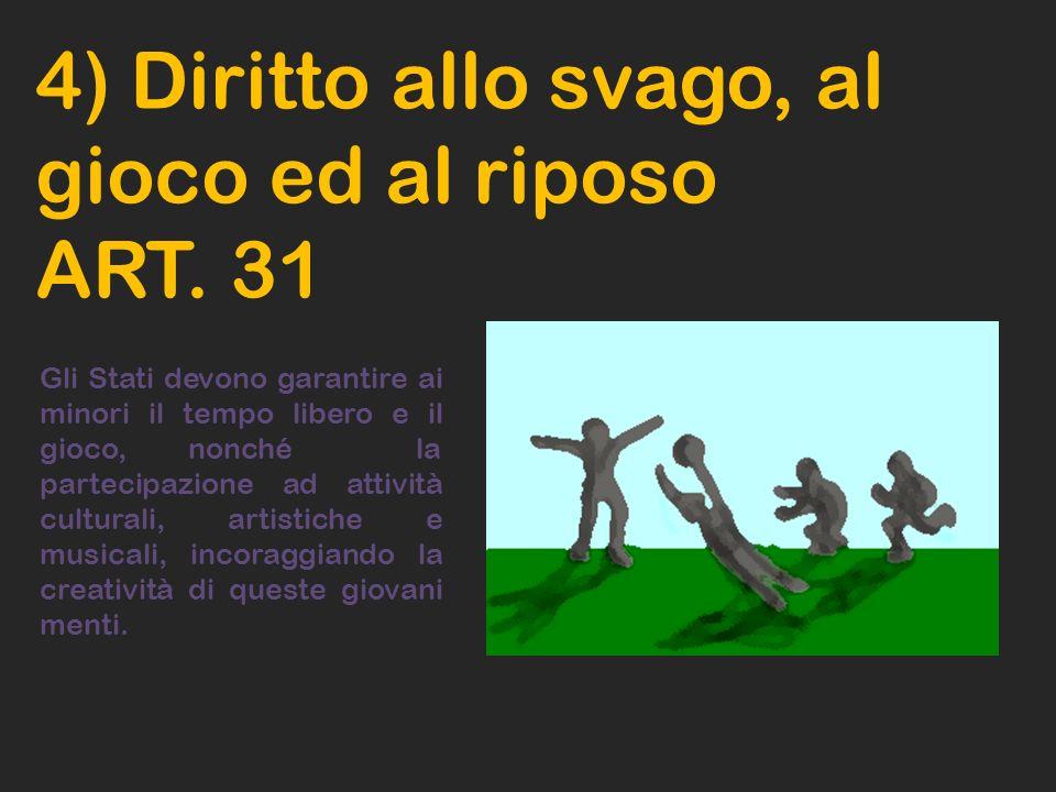 4) Diritto allo svago, al gioco ed al riposo ART. 31