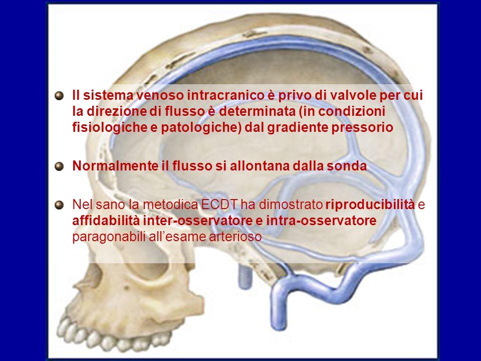 Il sistema venoso intracranico è privo di valvole per cui la direzione di flusso è determinata (in condizioni fisiologiche e patologiche) dal gradiente pressorio