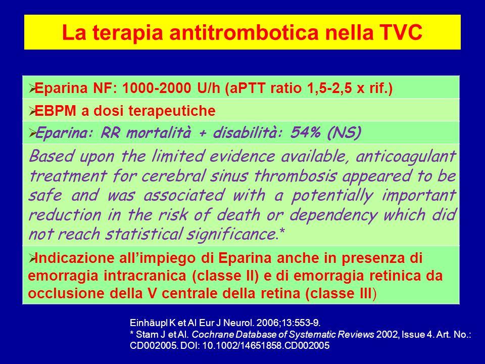 La terapia antitrombotica nella TVC