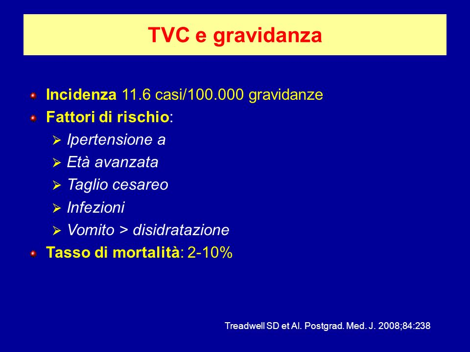 TVC e gravidanza Incidenza 11.6 casi/100.000 gravidanze
