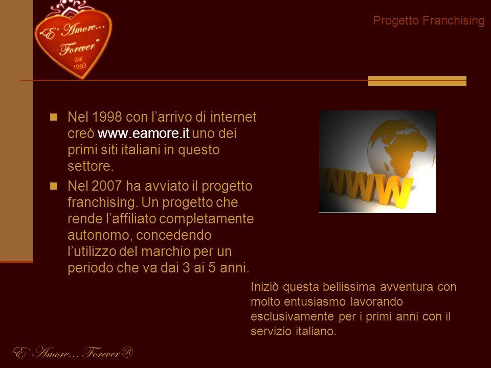 Progetto Franchising Nel 1998 con l'arrivo di internet creò www.eamore.it uno dei primi siti italiani in questo settore.