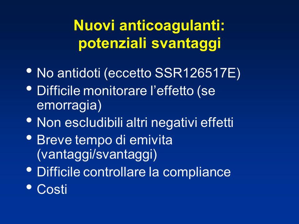 Nuovi anticoagulanti: potenziali svantaggi