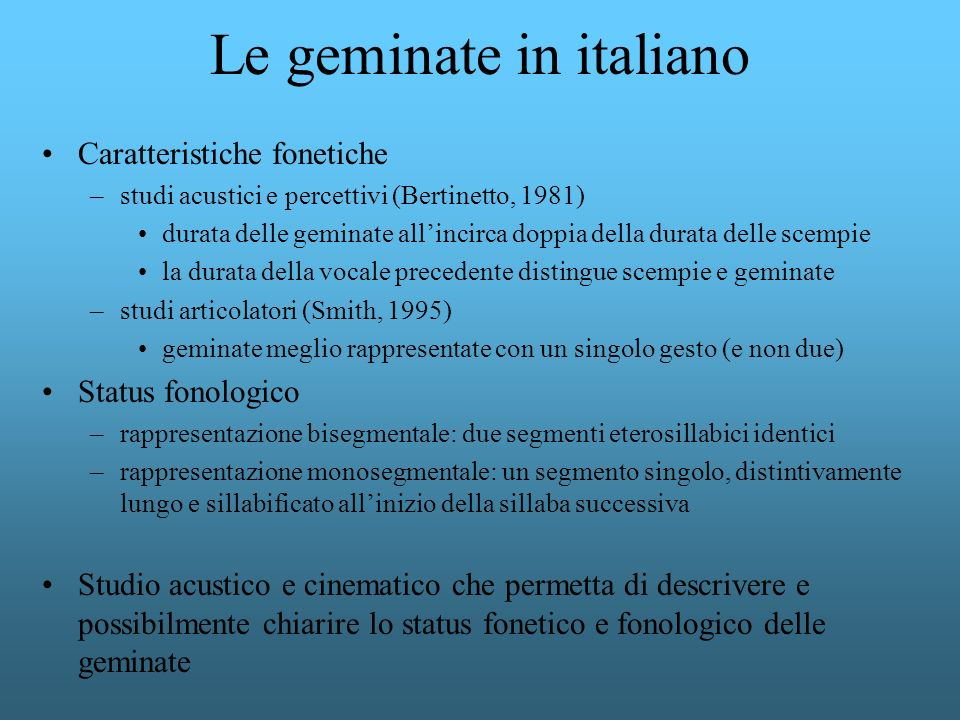 Le geminate in italiano
