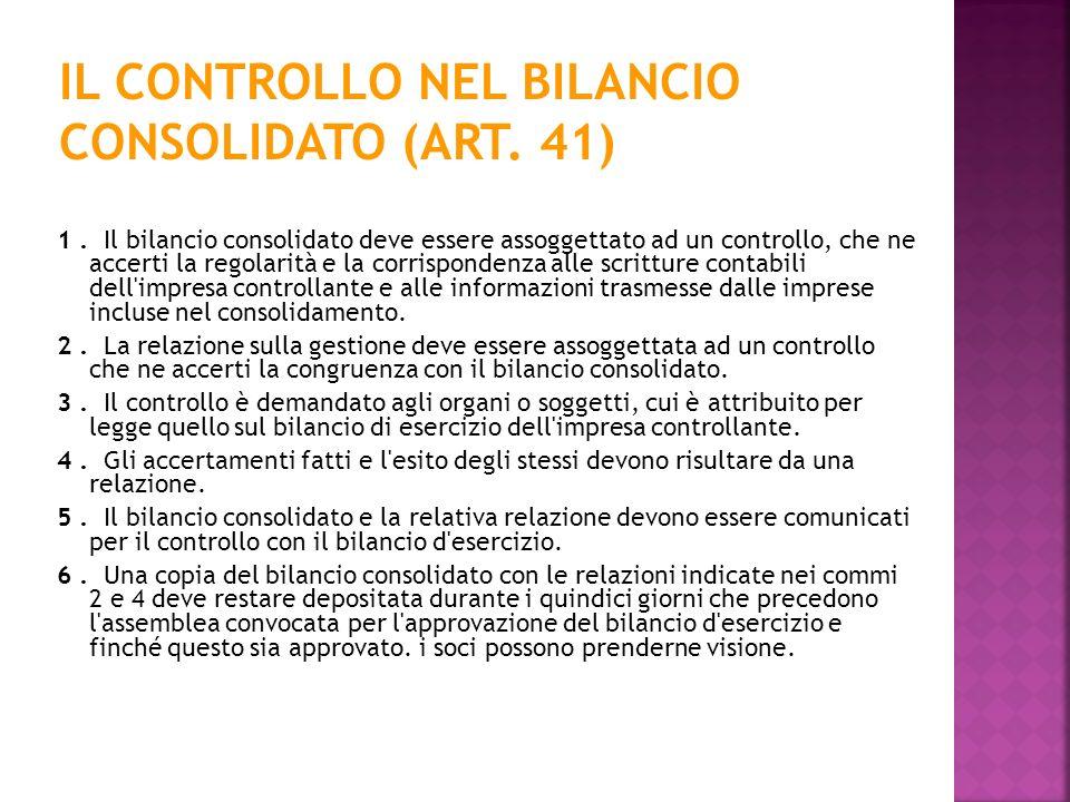 IL CONTROLLO NEL BILANCIO CONSOLIDATO (ART. 41)