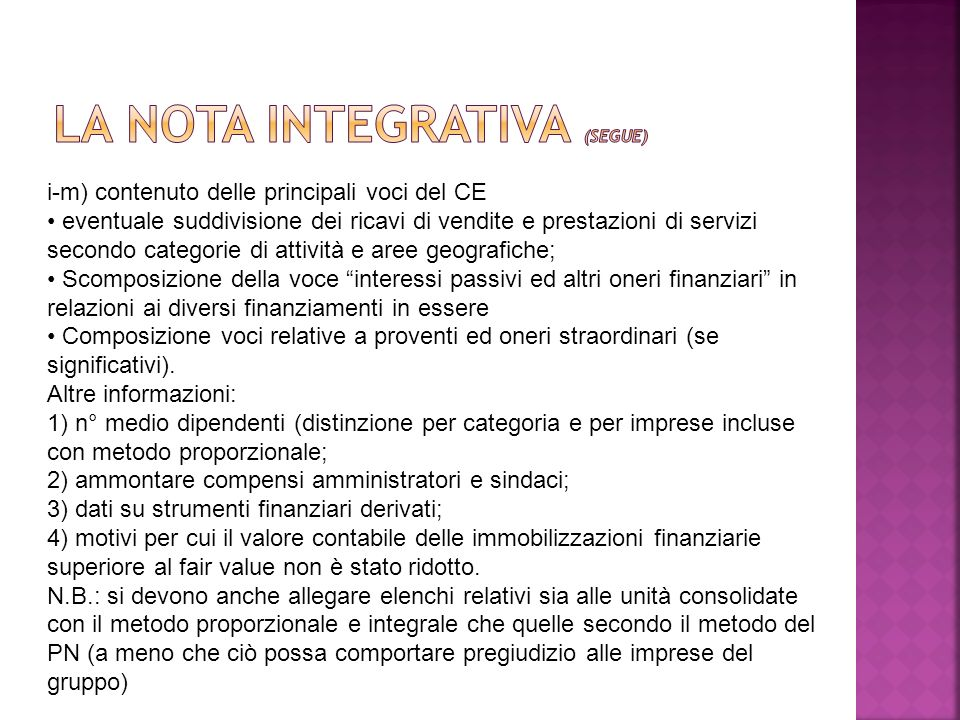 La nota integrativa (segue)