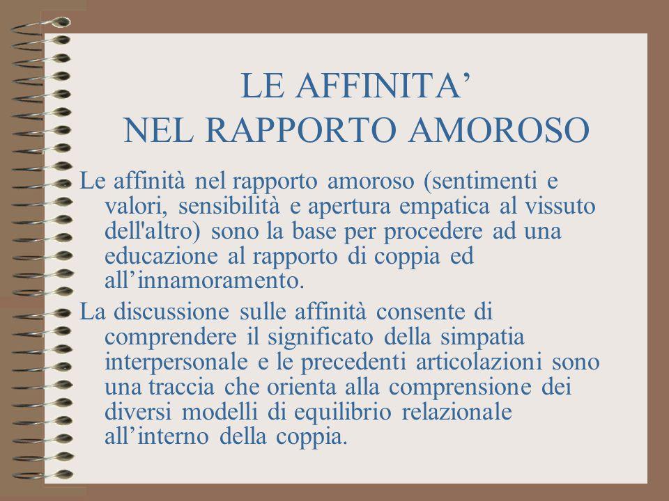 LE AFFINITA' NEL RAPPORTO AMOROSO