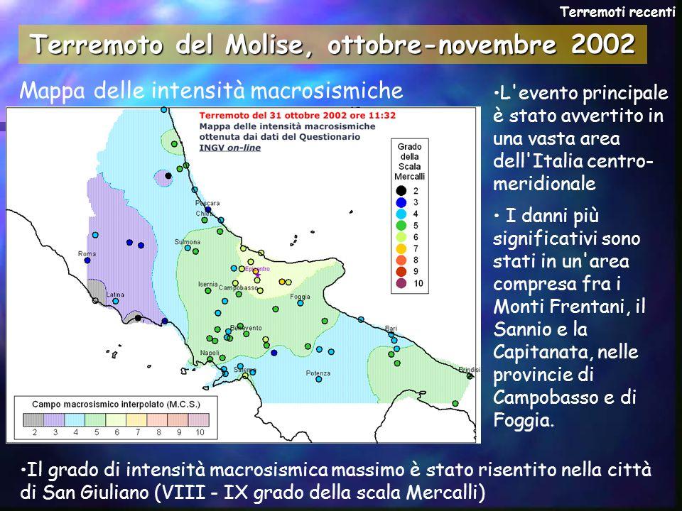 Terremoto del Molise, ottobre-novembre 2002