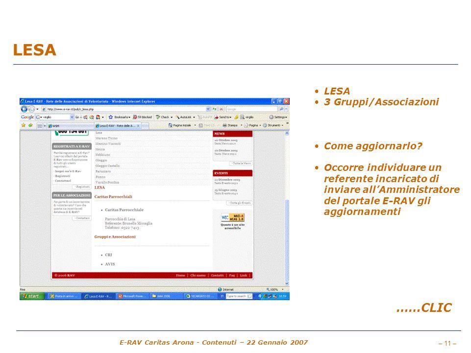 LESA ……CLIC LESA 3 Gruppi/Associazioni Come aggiornarlo