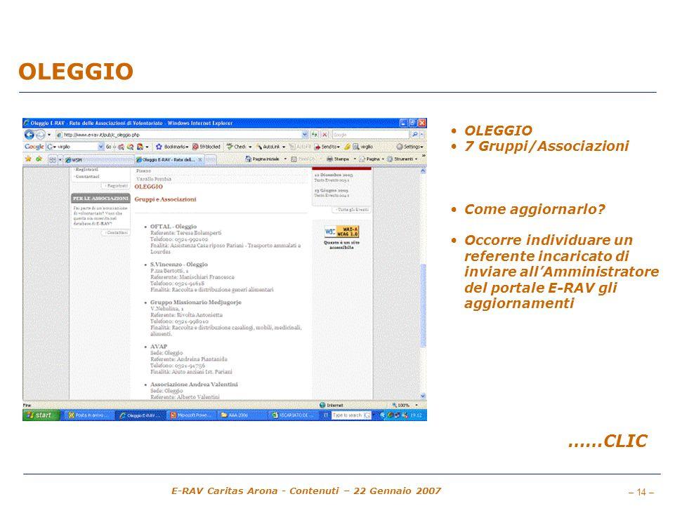 OLEGGIO ……CLIC OLEGGIO 7 Gruppi/Associazioni Come aggiornarlo