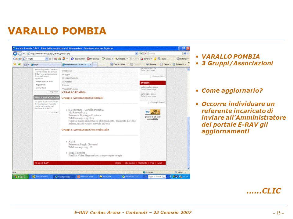 VARALLO POMBIA ……CLIC VARALLO POMBIA 3 Gruppi/Associazioni