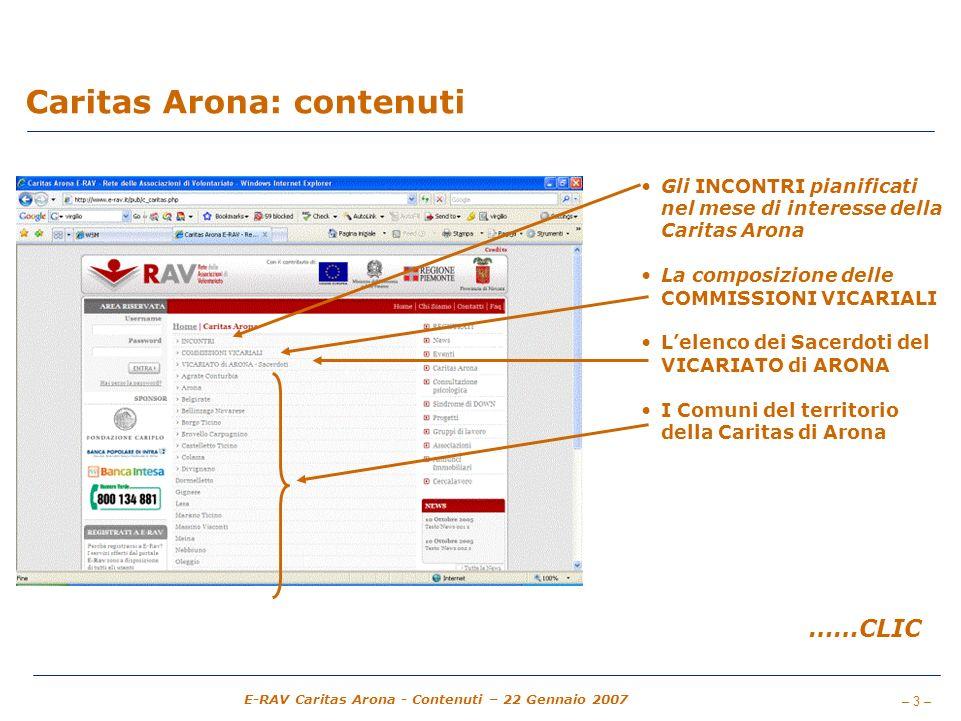 Caritas Arona: contenuti