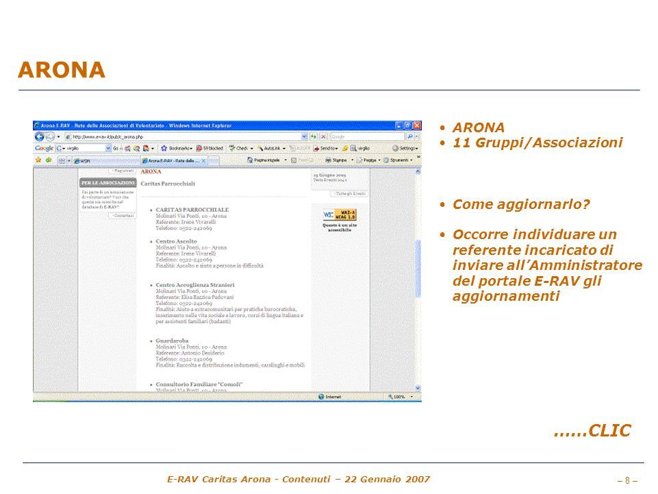 ARONA ……CLIC ARONA 11 Gruppi/Associazioni Come aggiornarlo