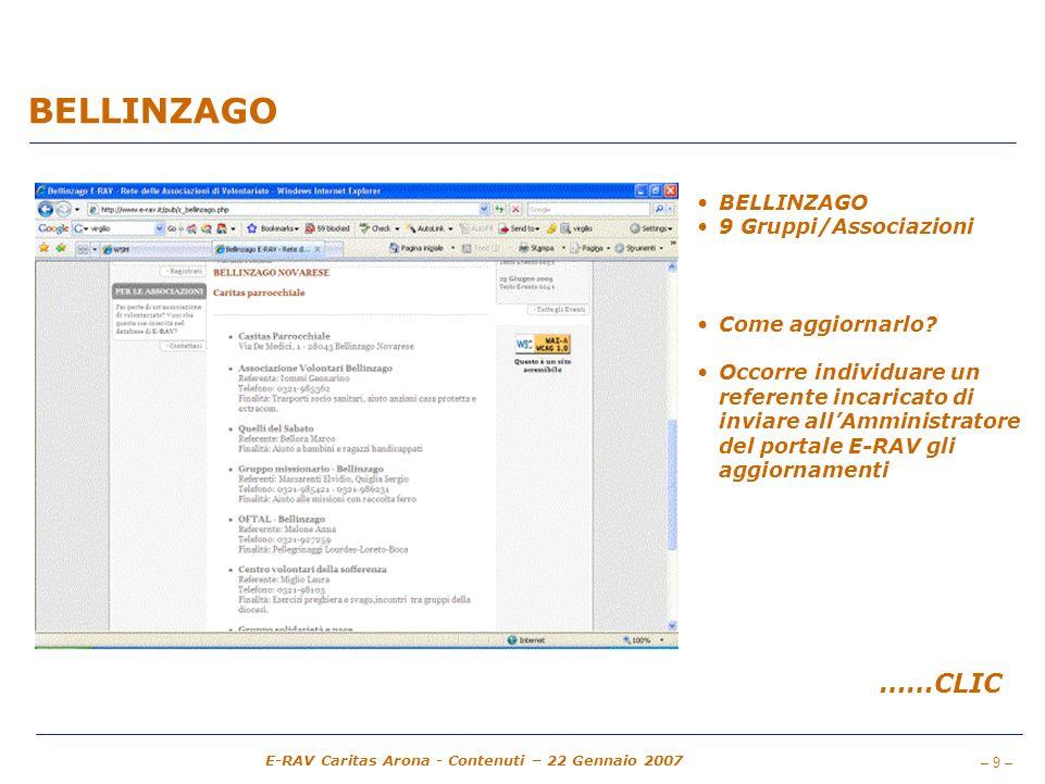 BELLINZAGO ……CLIC BELLINZAGO 9 Gruppi/Associazioni Come aggiornarlo