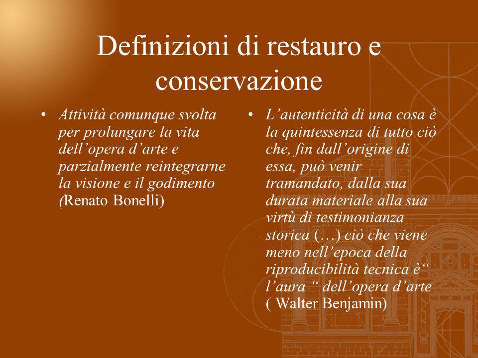 Definizioni di restauro e conservazione