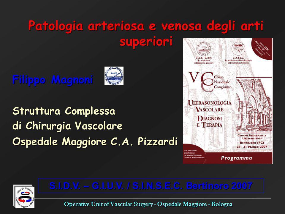 Patologia arteriosa e venosa degli arti superiori