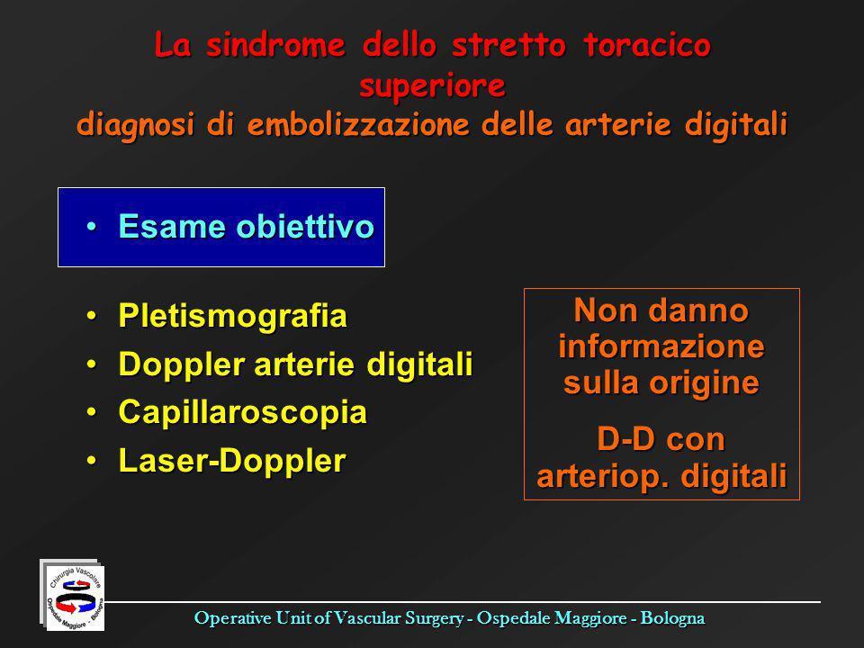 Non danno informazione sulla origine D-D con arteriop. digitali