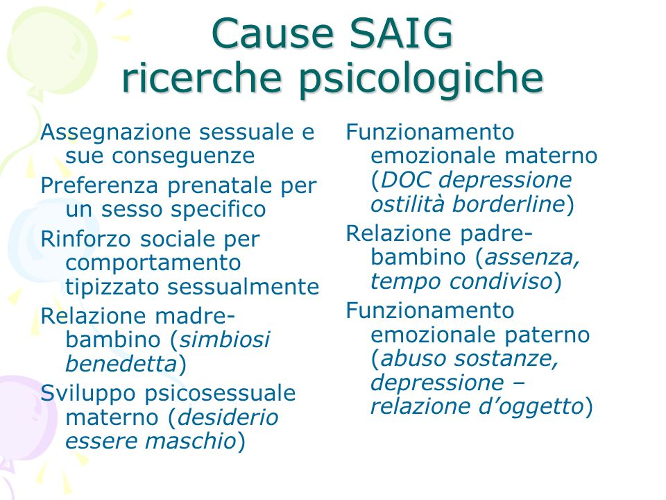 Cause SAIG ricerche psicologiche