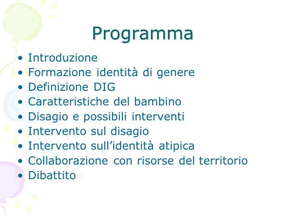 Programma Introduzione Formazione identità di genere Definizione DIG