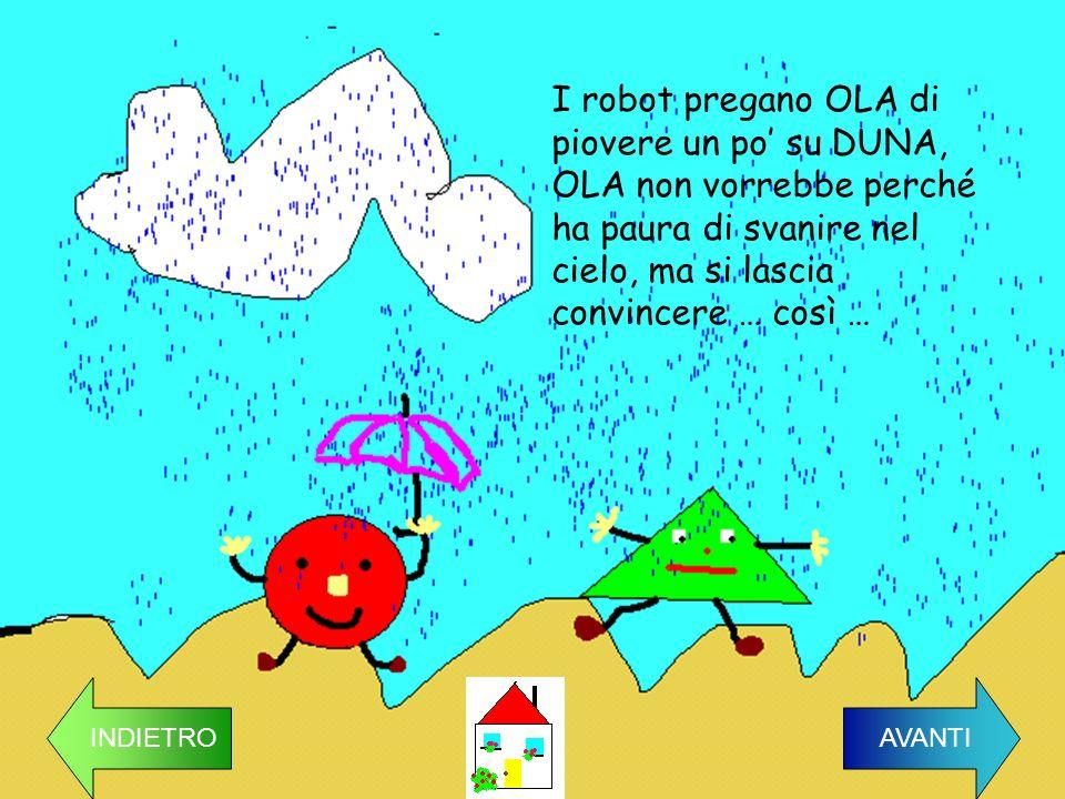 I robot pregano OLA di piovere un po' su DUNA, OLA non vorrebbe perché ha paura di svanire nel cielo, ma si lascia convincere … così …