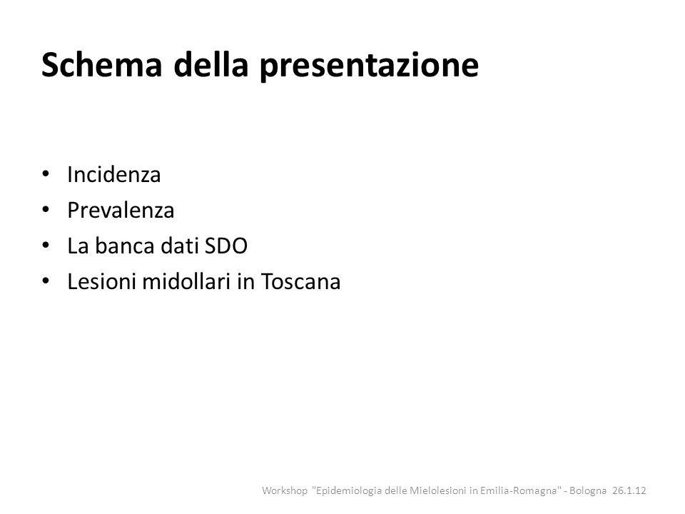 Schema della presentazione