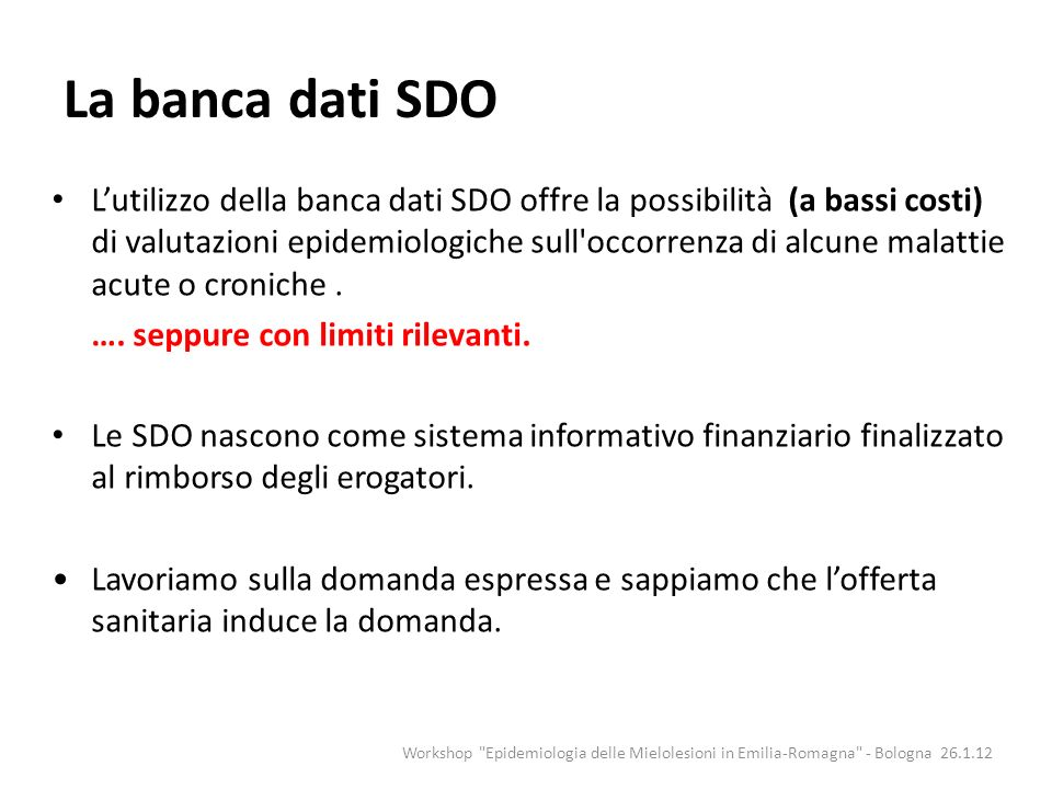 La banca dati SDO