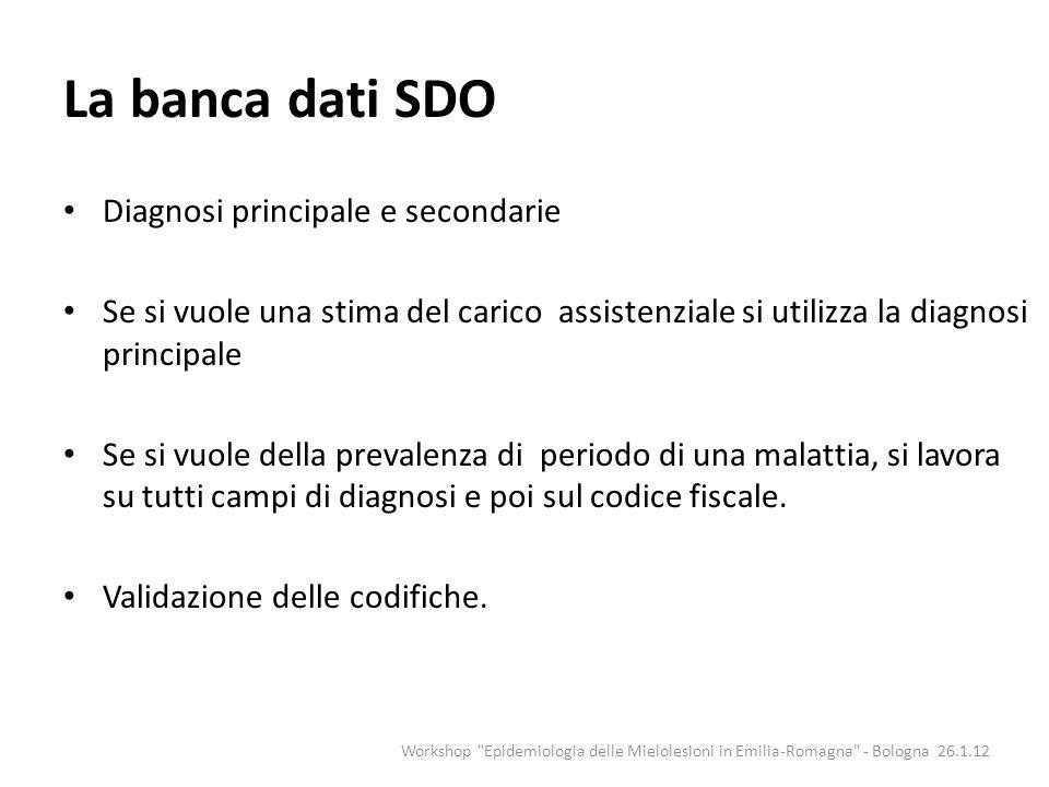 La banca dati SDO Diagnosi principale e secondarie