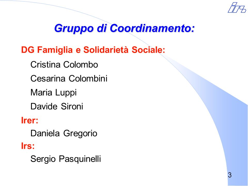 Gruppo di Coordinamento: