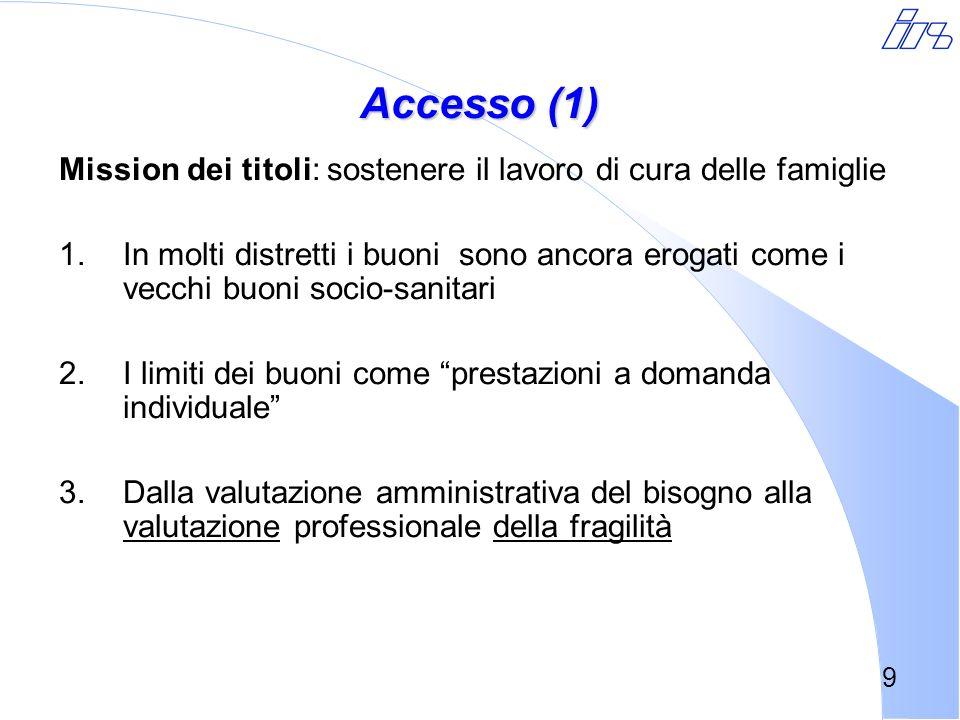 Accesso (1) Mission dei titoli: sostenere il lavoro di cura delle famiglie.