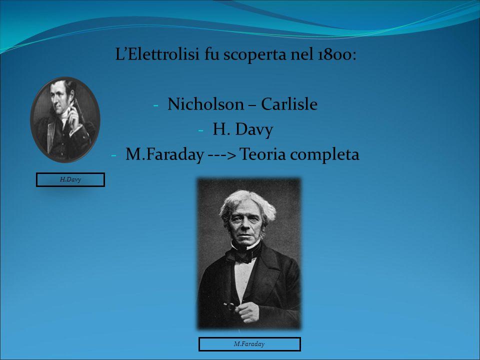 L'Elettrolisi fu scoperta nel 1800: Nicholson – Carlisle H. Davy