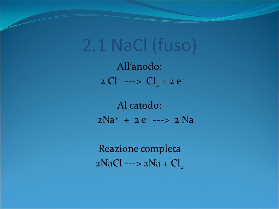 2.1 NaCl (fuso) All'anodo: 2 Cl- ---> Cl2 + 2 e- Al catodo: 2Na+ + 2 e- ---> 2 Na Reazione completa 2NaCl ---> 2Na + Cl2