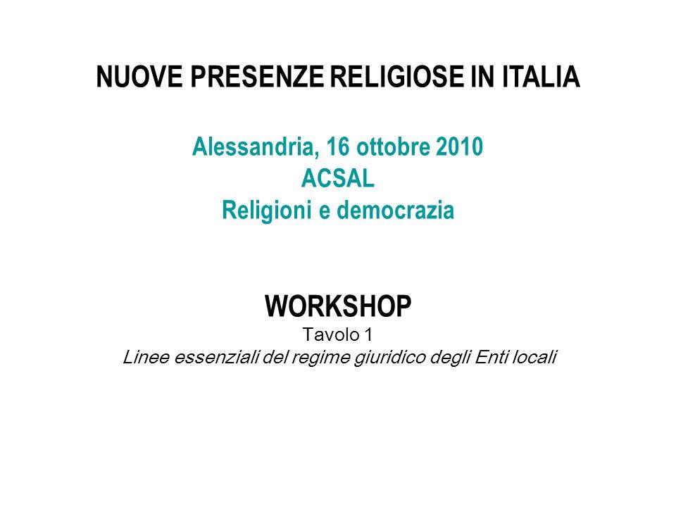NUOVE PRESENZE RELIGIOSE IN ITALIA Religioni e democrazia