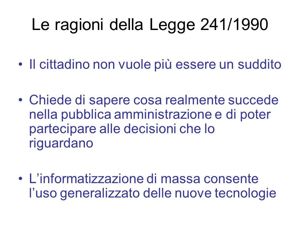Le ragioni della Legge 241/1990