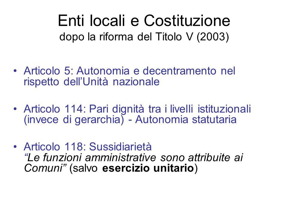 Enti locali e Costituzione dopo la riforma del Titolo V (2003)