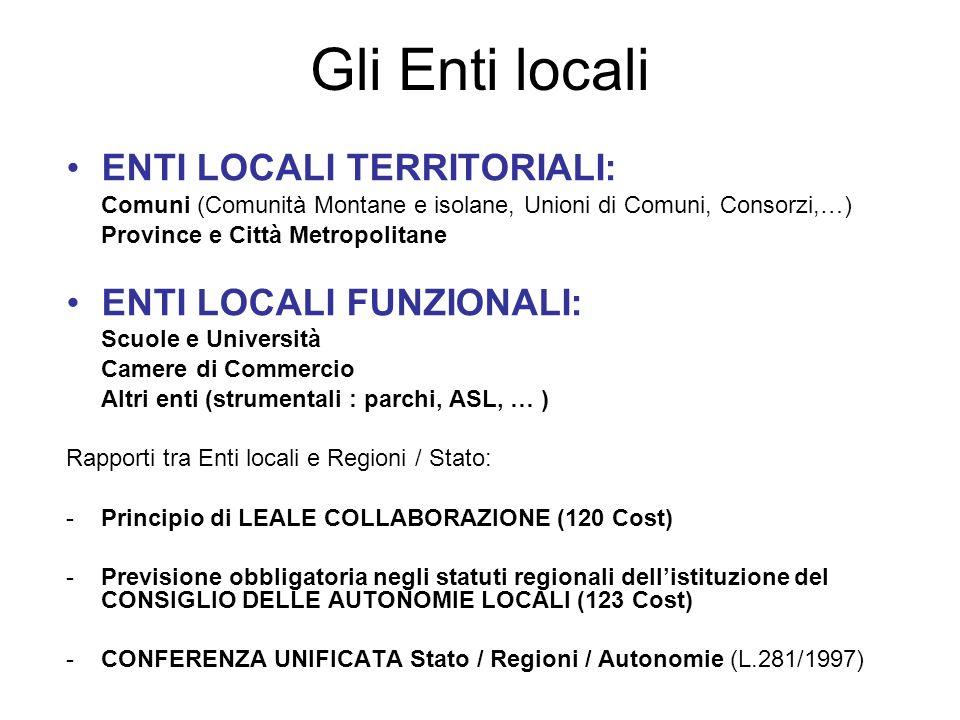 Gli Enti locali ENTI LOCALI TERRITORIALI: ENTI LOCALI FUNZIONALI: