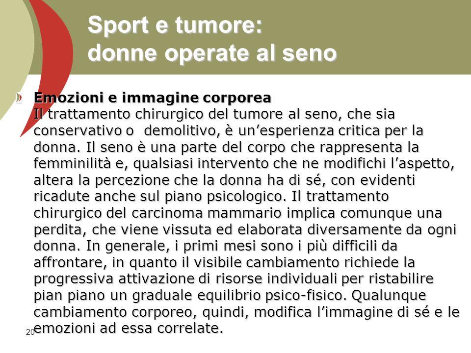 Sport e tumore: donne operate al seno