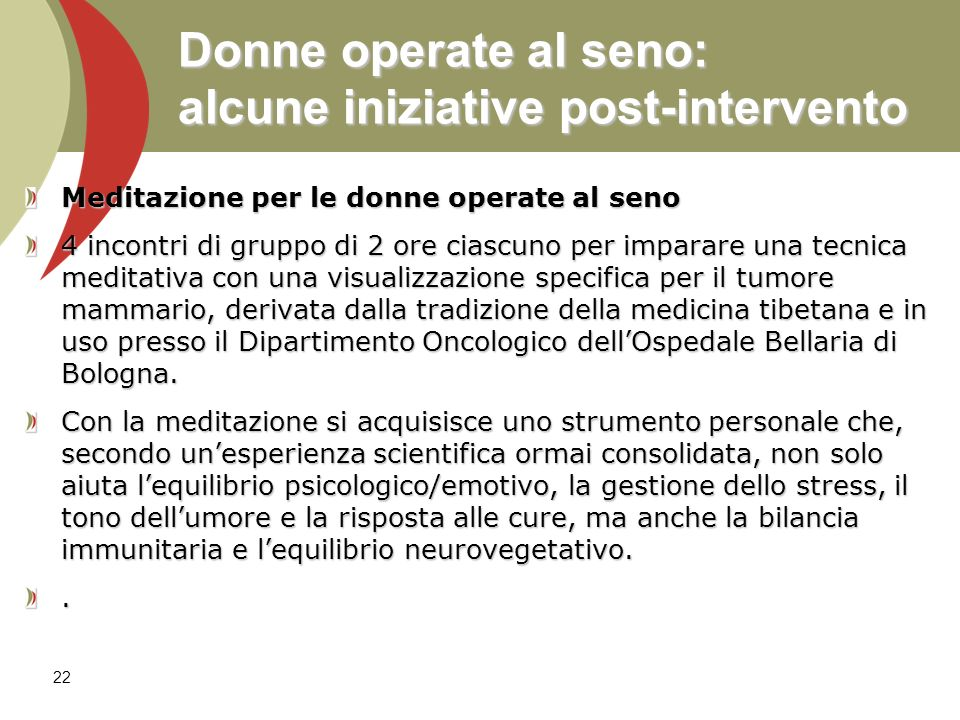 Donne operate al seno: alcune iniziative post-intervento