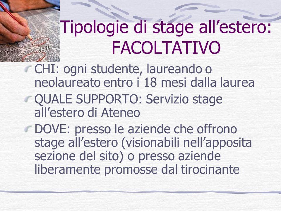Tipologie di stage all'estero: FACOLTATIVO