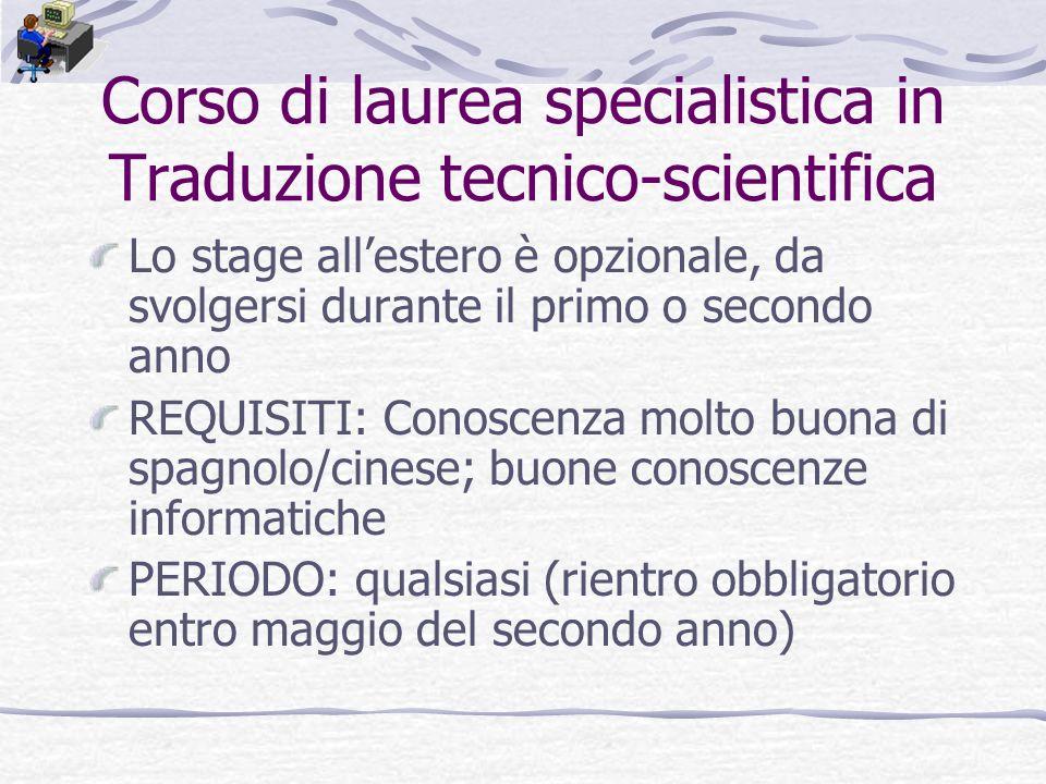 Corso di laurea specialistica in Traduzione tecnico-scientifica