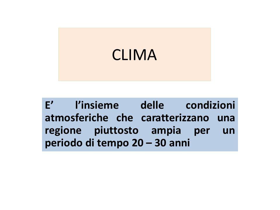 CLIMA E' l'insieme delle condizioni atmosferiche che caratterizzano una regione piuttosto ampia per un periodo di tempo 20 – 30 anni.