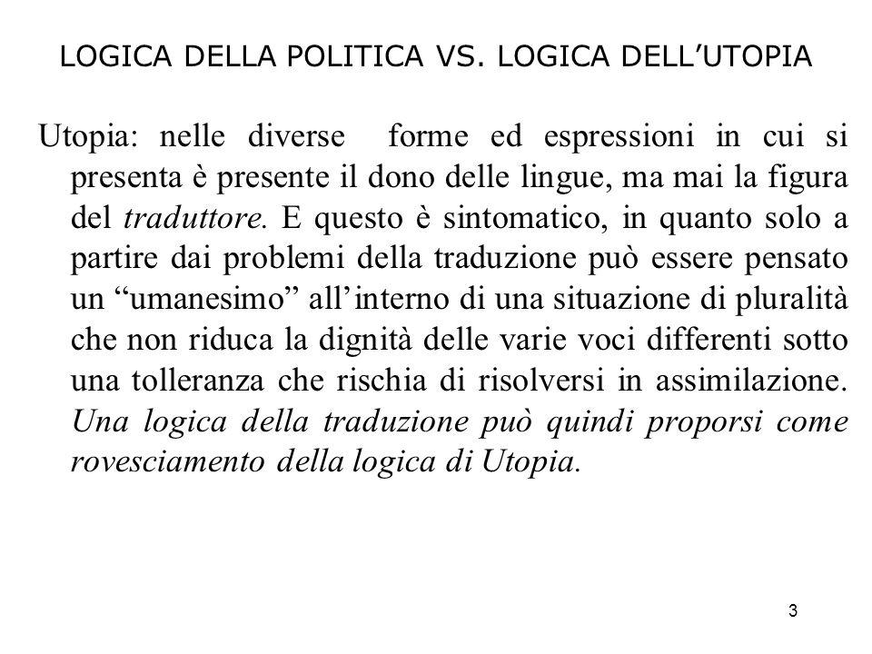 LOGICA DELLA POLITICA VS. LOGICA DELL'UTOPIA