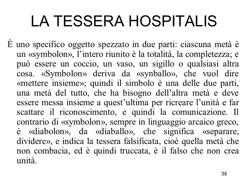 LA TESSERA HOSPITALIS