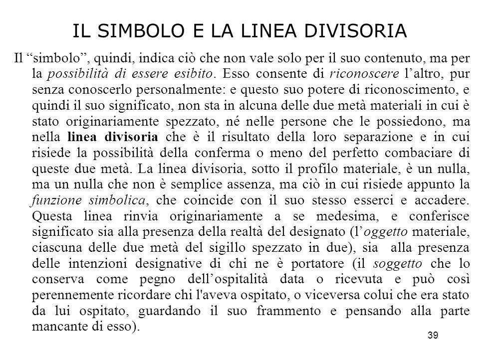 IL SIMBOLO E LA LINEA DIVISORIA