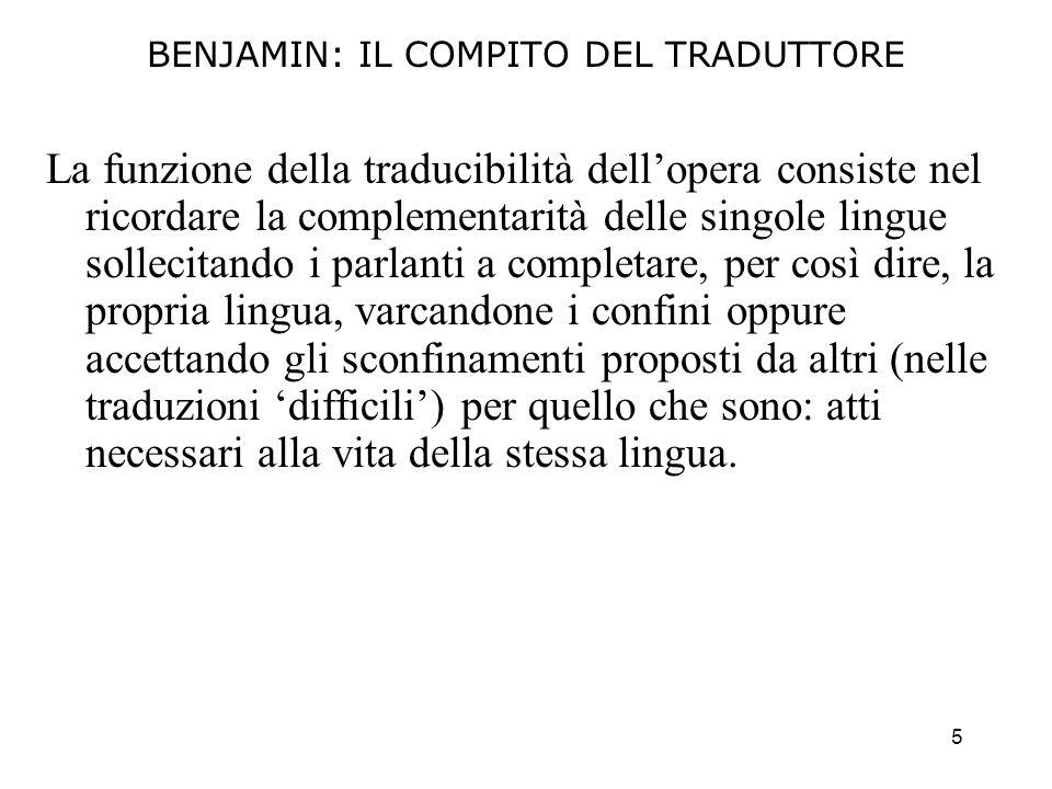 BENJAMIN: IL COMPITO DEL TRADUTTORE