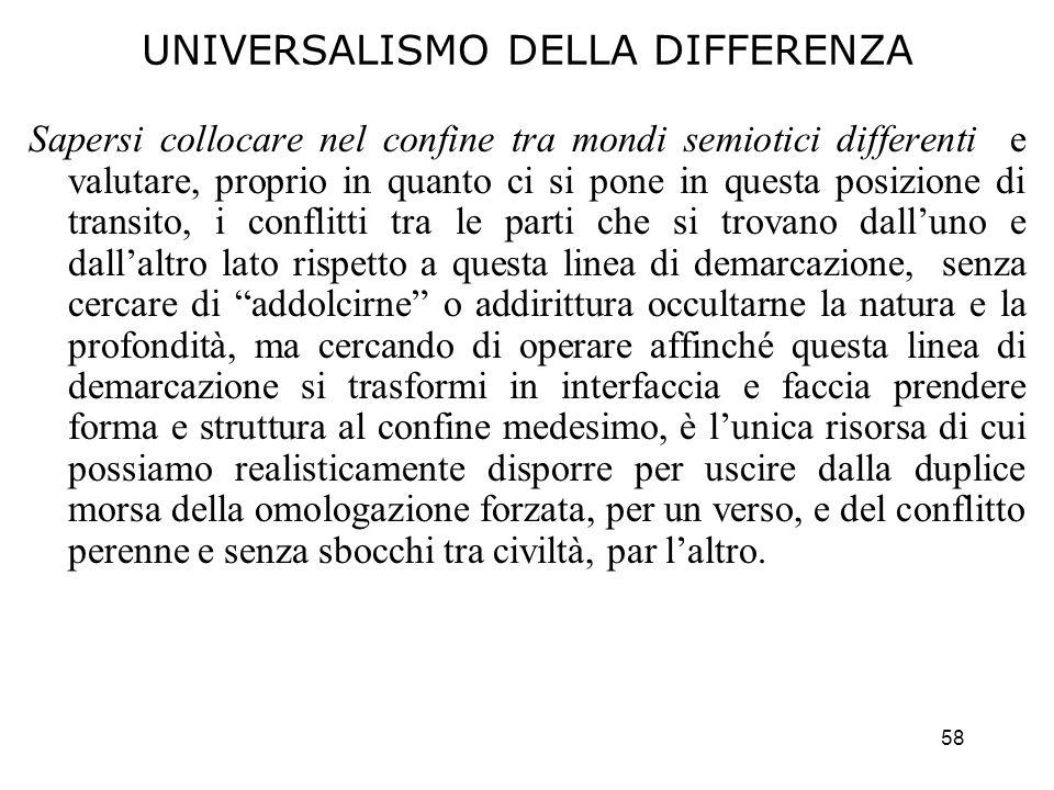 UNIVERSALISMO DELLA DIFFERENZA