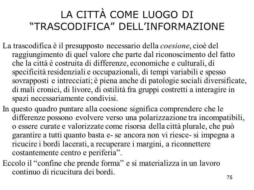 LA CITTÀ COME LUOGO DI TRASCODIFICA DELL'INFORMAZIONE