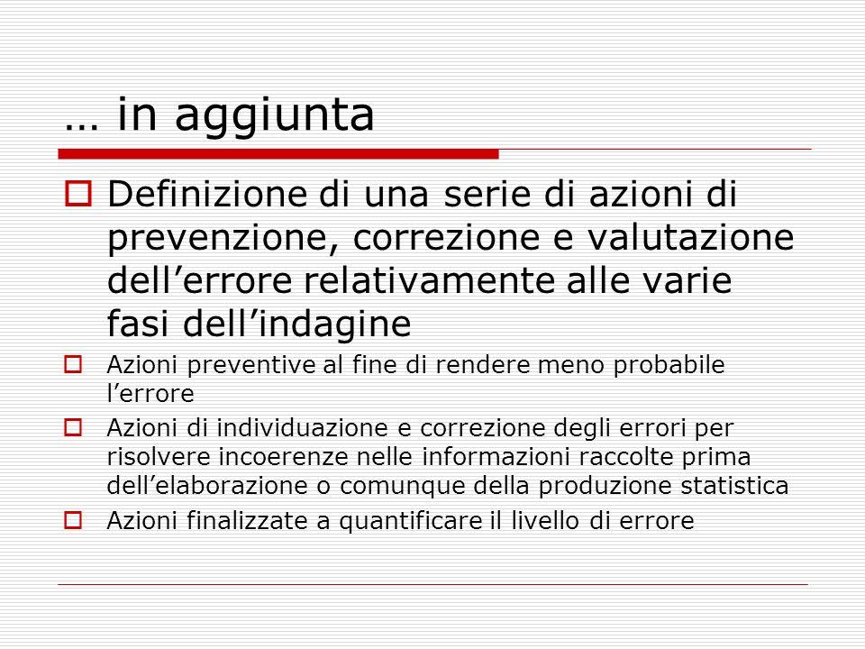 … in aggiunta Definizione di una serie di azioni di prevenzione, correzione e valutazione dell'errore relativamente alle varie fasi dell'indagine.
