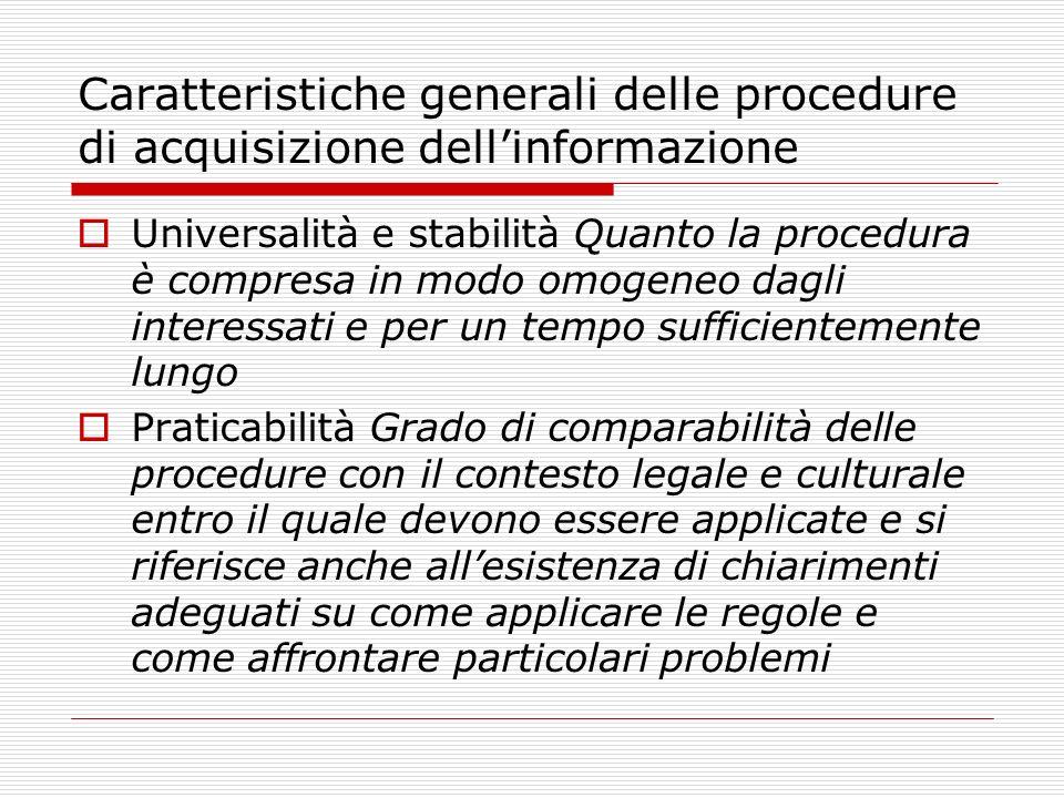 Caratteristiche generali delle procedure di acquisizione dell'informazione