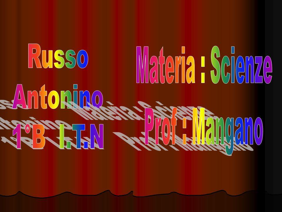 Russo Antonino 1°B I.T.N Materia : Scienze Prof : Mangano