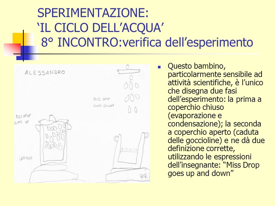 SPERIMENTAZIONE: 'IL CICLO DELL'ACQUA' 8° INCONTRO:verifica dell'esperimento